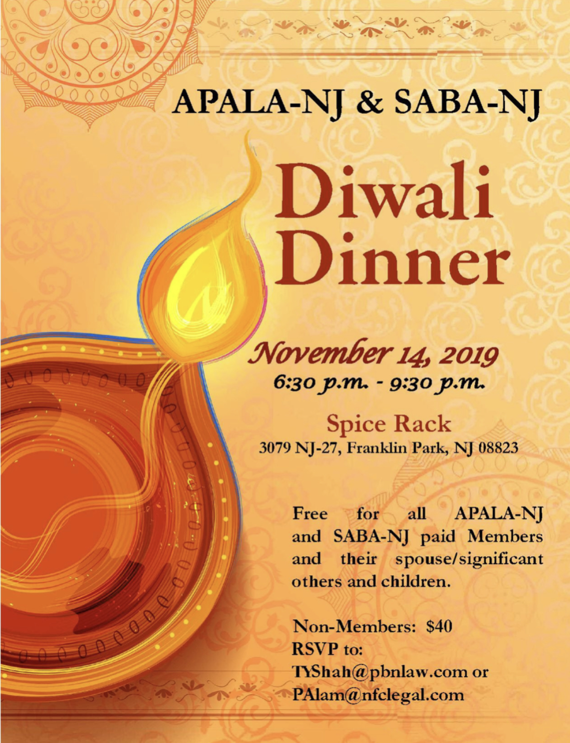 APALA-NJ & SABA-NJ - Diwali Dinner