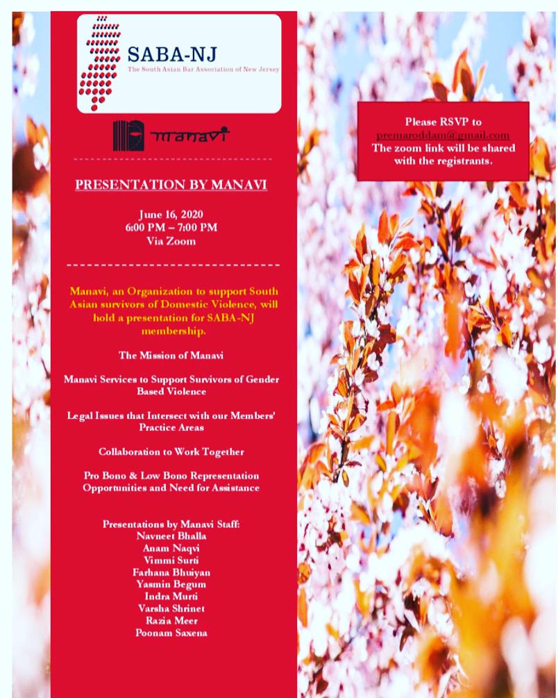 Presentation by Manavi NJ Regarding How to Help Survivors of Domestic Violence