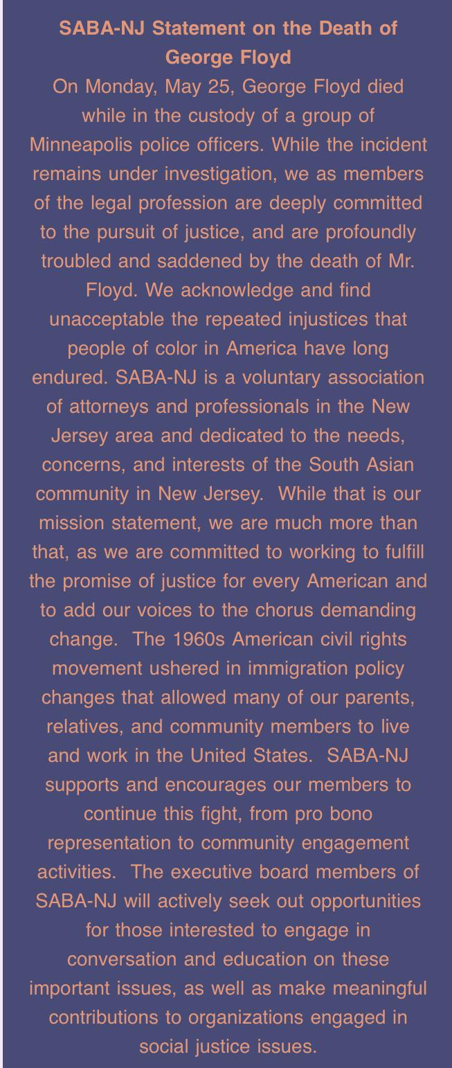 SABA-NJ Statement on the Death of George Floyd