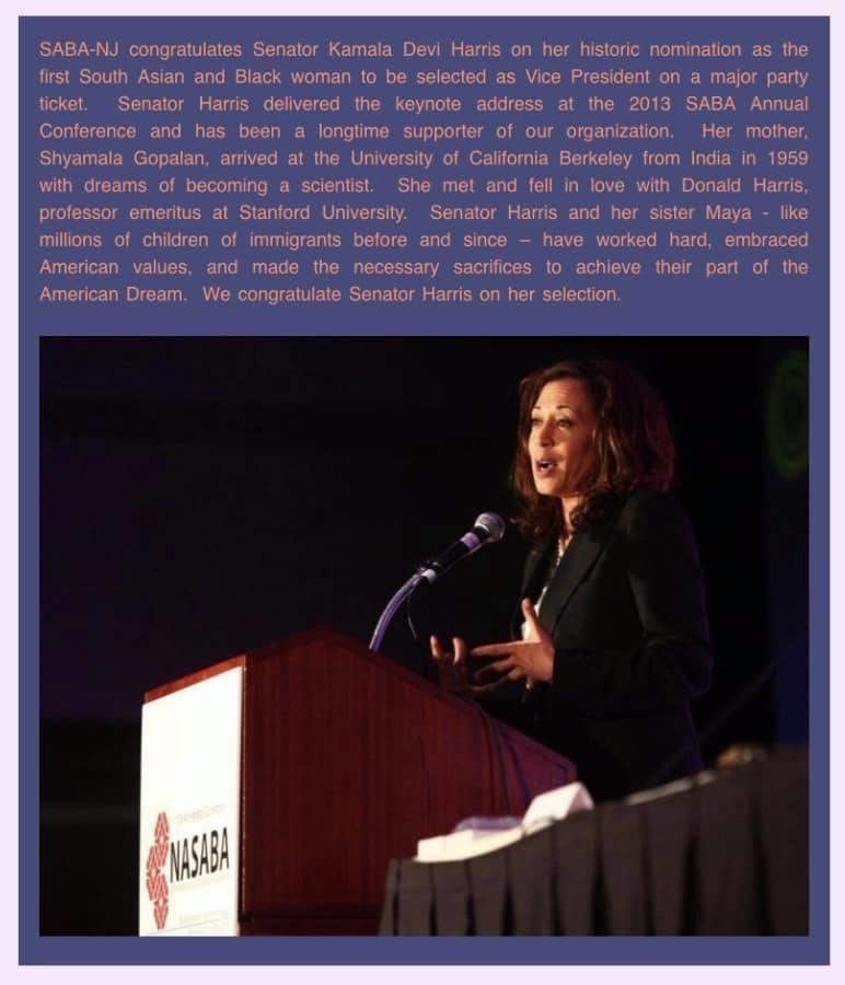 SABA-NJ congratulates Senator Kamala Devi Harris
