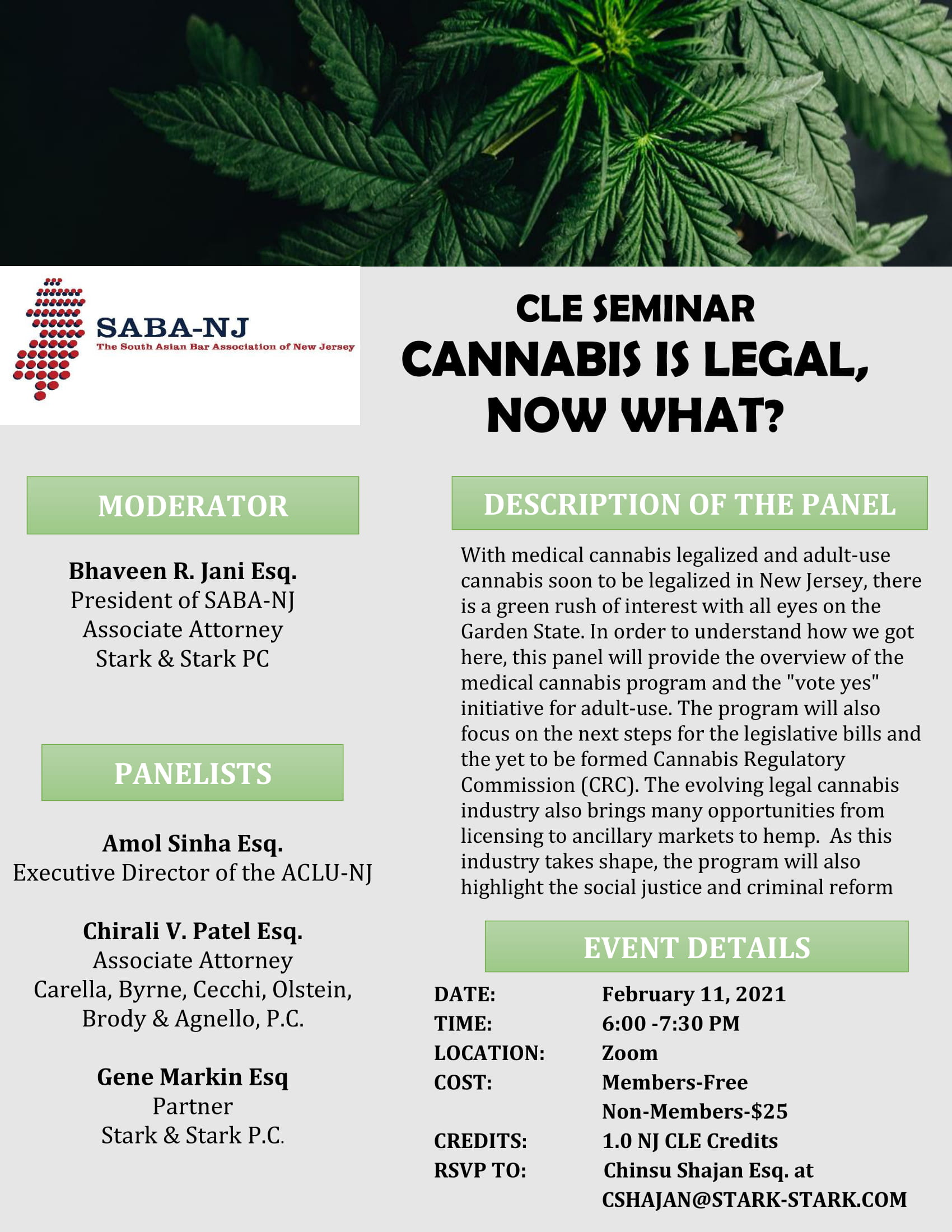 CLE SEMINAR, CANNABIS IS LEGAL, NOW WHAT?